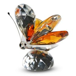 Crystal Butterfly Figurine with Amber Wings