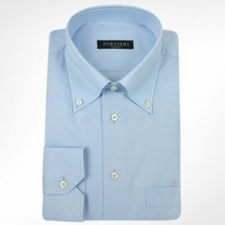 Solid Light Blue Cotton Button Down Dress Shirt