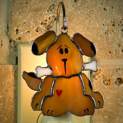 Dog Stained Glass Ornament/Nightlight