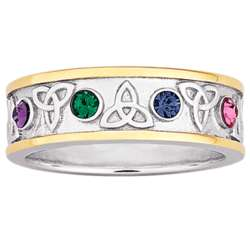 Personalized Two-Tone Family Birthstone Trinity Knot Ring