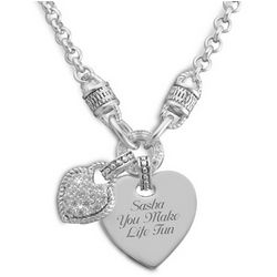 Pave Heart Rope Necklace