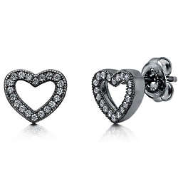 Cubic Zirconia Black Rhodium Plated Open Heart Earrings