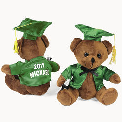 Personalized Plush Green Graduation Bear