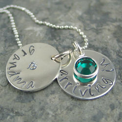 New Grandma Arriving In Personalized Hand-Stamped Necklace