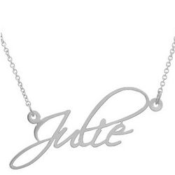 Fancy Script Sterling Silver Custom Name Necklace