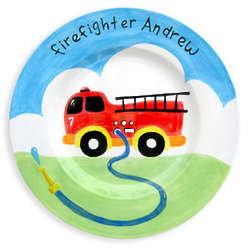 Boy's Personalized Fire Truck Birth Plate