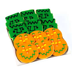 Dozen Frankenstein and Jack-O-Lantern Smiley Cookies