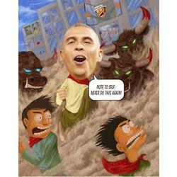 Running of the Bulls Custom Caricature Art Print