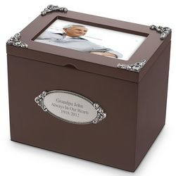 Personalized Walnut Memorial Photo Box