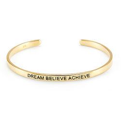 Dream Believe Achieve Gold Message Bracelet