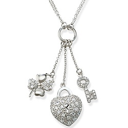 Double Strand Sterling and Multi CZ Charm Necklace