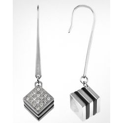 Emporio Armani Black Enamel and Crystals Cube Earrings