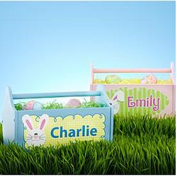 Personalized Blue or Pink Wooden Easter Caddie