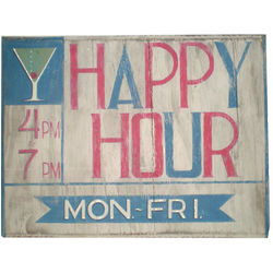 Happy Hour Wooden Sign
