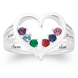 Personalized Mother's Birthstone Heart Name Ring
