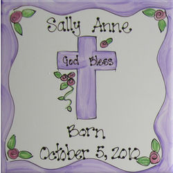 Personalized Child's Ceramic Tile with Cross