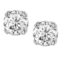 1/7 CTW Solitaire Stud Diamond Earrings in 10K White Gold