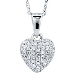 Cubic Zirconia Sterling Silver Puffed Heart Pendant Necklace