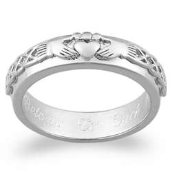 Sterling Silver Engraved Claddagh Wedding Band