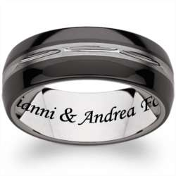 Men's Tungsten and Ceramic Engraved Message Band