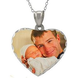 Sterling Silver Heart Diamond Cut Color Photo Pendant