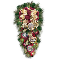 Welcome Christmas Lighted Teardrop Wreath with Artwork Ornaments