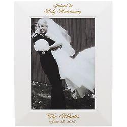 Personalized 4x6 White Wood Wedding Photo Frame