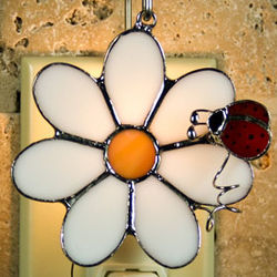 Daisy with Ladybug Stained Glass Ornament/Nightlight
