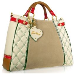 Quilted Beige and Red Leather Trim Satchel Bag