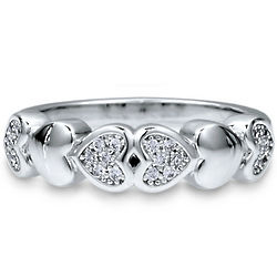 Cubic Zirconia Sterling Silver Multi Heart Fashion Ring