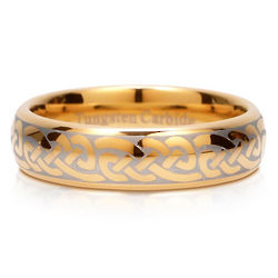 Mens Gold Tone Celtic Knot Tungsten Carbide Ring