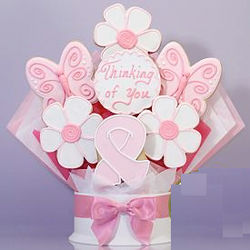 Pink Ribbon Thinking of You Cookie Bouquet