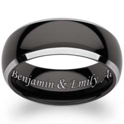 Mens Black Tungsten Two-Tone Beveled Engraved Band