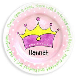 Girl's Personalized Crown Birth Plate