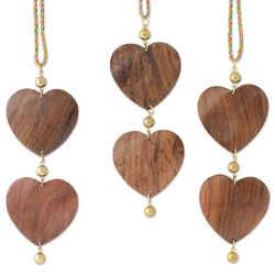 Cheerful Hearts Wood Ornaments