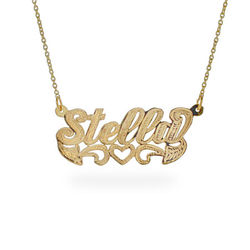Gold Script Name Plate Necklace