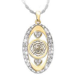 Firefighter Tribute Swarovski Crystal Pendant Necklace