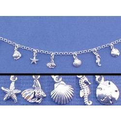 Engraved Sea Life Charm Bracelet