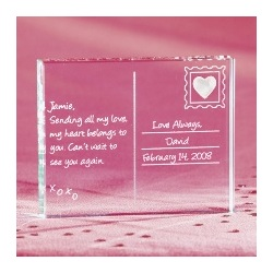 Personalized Valentine Postcard Glass Block
