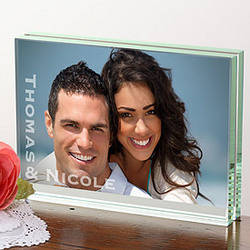 You & Me Personalized Glass Photo Block