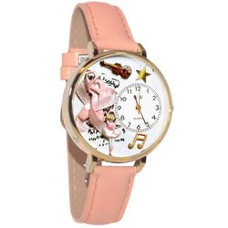 Ballet Shoes Whimsical Watch in Large Gold Case