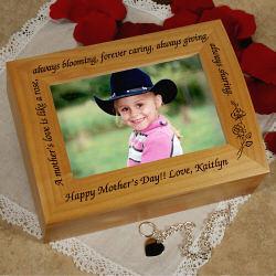 A Mother's Love is Like a Rose Photo Keepsake Box