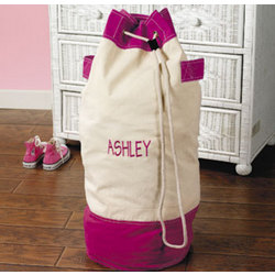 Pink and White Duffel Bag