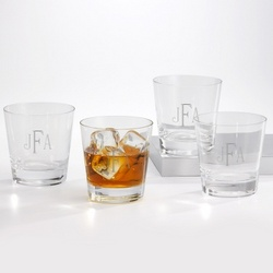 Set of Four Double Old Fashioned Glasses With Monogram