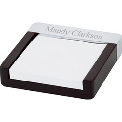 Polished Metal and Wood Notepad Holder