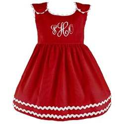 Girl's Red Corduroy Dress with White Ric Rac