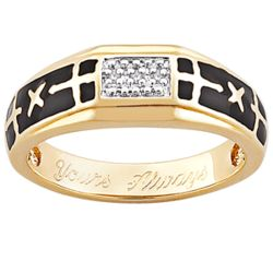 Mens 14K Gold Over Sterling Diamond Cross Wedding Band