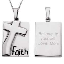 Personalized Stainless Steel Engraved Faith Necklace