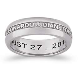 Sculpted Sterling Platinum Plated Engraved Wedding Band