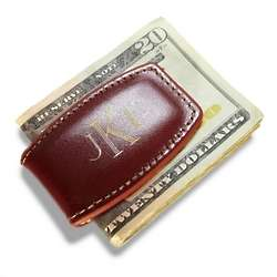 Monogrammed Brown Leather Money Clip